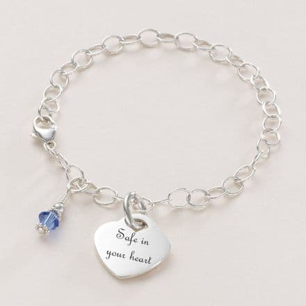 Birthstone and Engraved Heart Memorial Bracelet