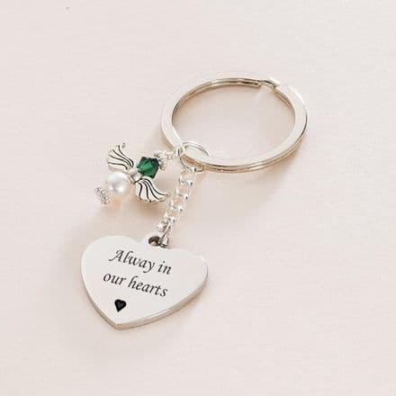 Birthstone Angel Keyring, Personalised Engraving