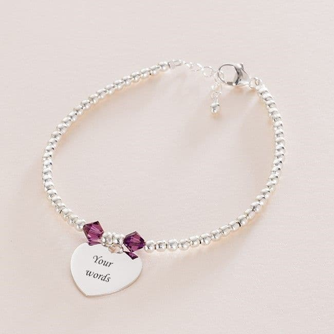 Birthstone Bracelet with Silver Beads and Engraving | Someone Remembered