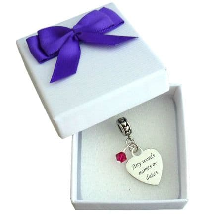 Birthstone Charm Personalised with Engraving