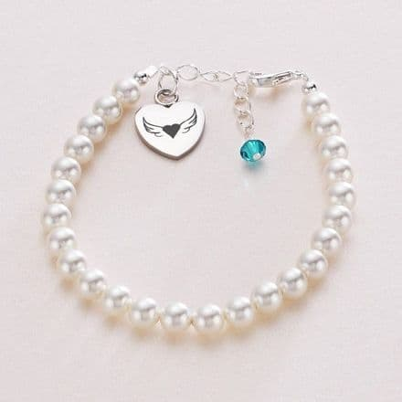 Birthstone Memorial Bracelet with Engraving