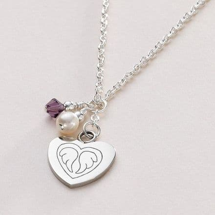 Birthstone Necklace with Angel Wings Engraved