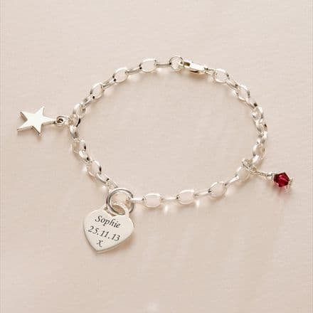 Birthstone, Star and Engraved Heart Memorial Bracelet