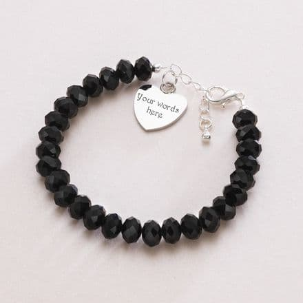 Black Crystal Memorial Bracelet with Engraving