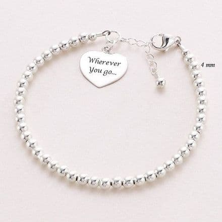 Dainty Engraved Heart Memorial Bracelet