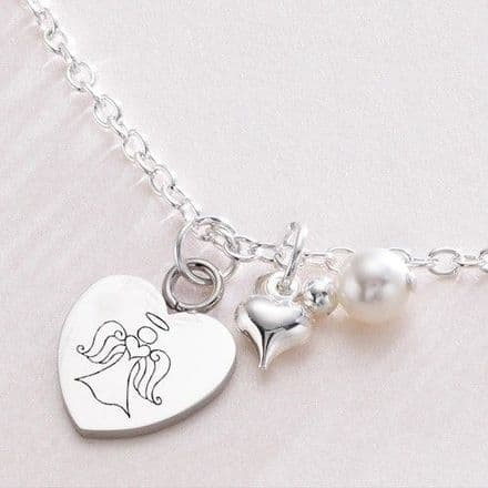 Engraved Angel Necklace with Heart & Pearl