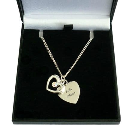 Engraved Heart with Open Heart Necklace