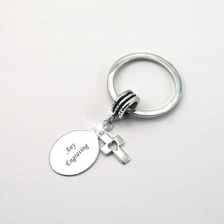 Engraved Keyring, Cross with Heart