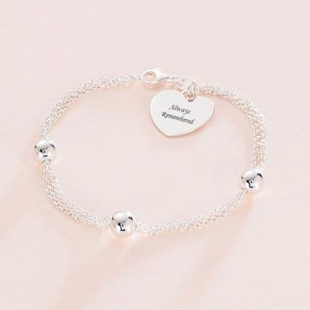 Engraved Memorial Bracelet with Silver Beads