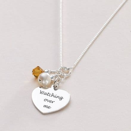Engraved Necklace with Birthstone & Pearl in Silver