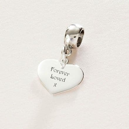 Engraved Silver Heart Charm - Pandora Style