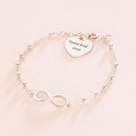 Engraved Silver Memorial Bracelet with Infinity Link