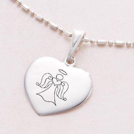 Engraved Silver Necklace with Angel, Personalised