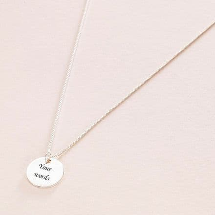 Engraved Silver Round Pendant Memorial Necklace