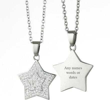 Engraved Star Necklace with Crystals