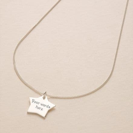 Engraved Star Pendant Necklace