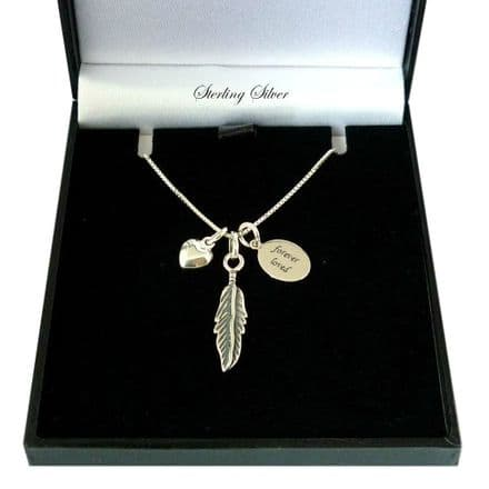 Feather Necklace, Personalised with Engraving, Sterling Silver