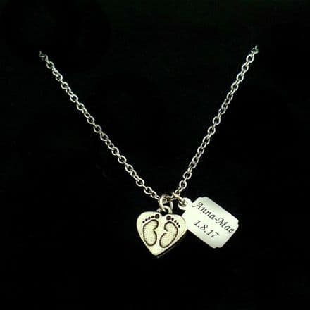 Footprints on Heart Necklace with Engraved Tag