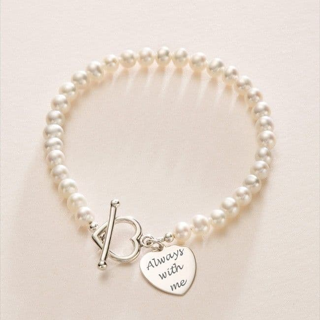 Freshwater Pearl Memorial Bracelet with Engraving | Someone Remembered