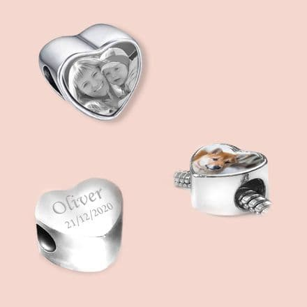 Heart Charm Bead with Any Photo Printed, Optional Engraving