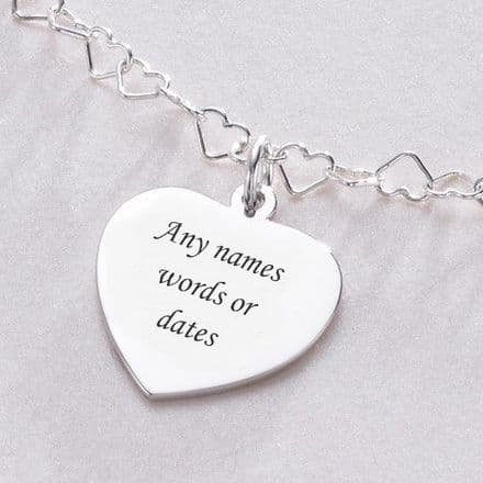 Heart Link Necklace with Custom engraved Heart