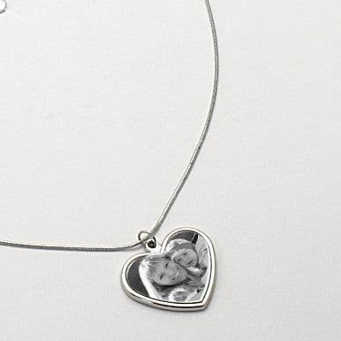Heart Memorial Necklace with Photo & Engraving