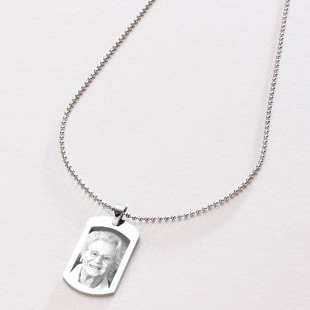 Man's Dogtag Necklace with Any Photo Engraved