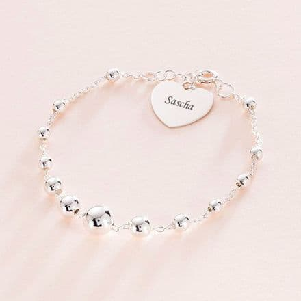 Memorial Bracelet, Engraved Heart, Silver Beads