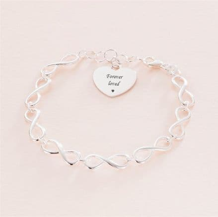 Memorial Bracelet with Infinity Links and Personalised Heart Charm