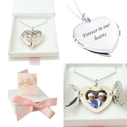 Memorial Heart Locket Necklace with Angel Wings and Any Photo