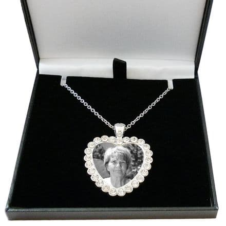 Memorial Heart Necklace with Any Photo, Gift Boxed