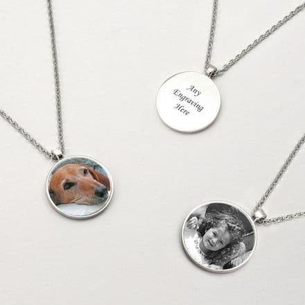 Memorial Necklace, Disc with Photo & Engraving