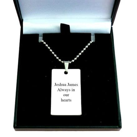Memorial Necklace for Man or Boy, Any Engraving