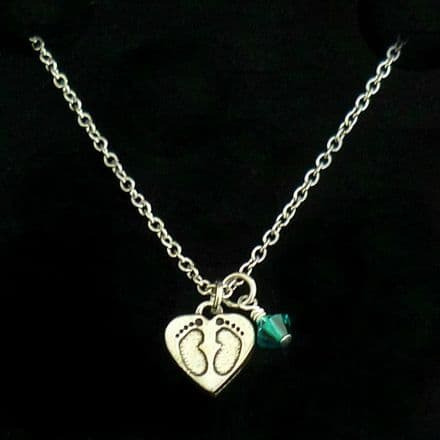 Memorial Necklace with Birthstone and Footprints Pendant
