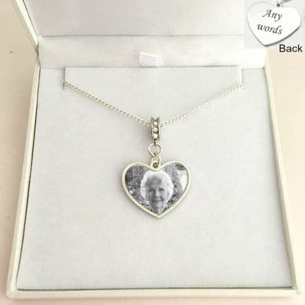 Memorial Necklace with Heart, Photo and Engraving