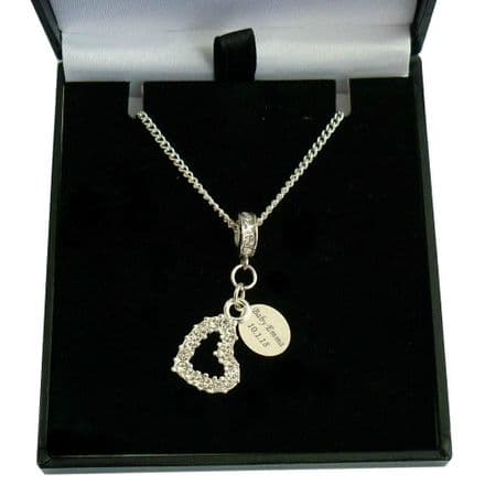 Memorial Necklace with Open Heart and Engraved Silver Tag