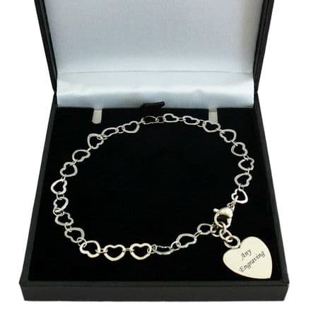 Memorial Open Heart Link Chain Bracelet with Personalised Engraving