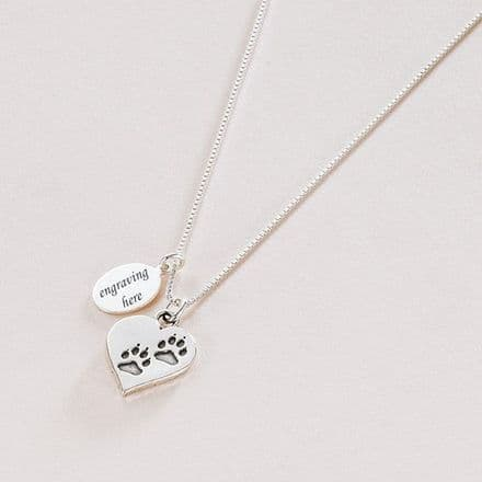 Pawprints on Heart Necklace with Engraved Tag