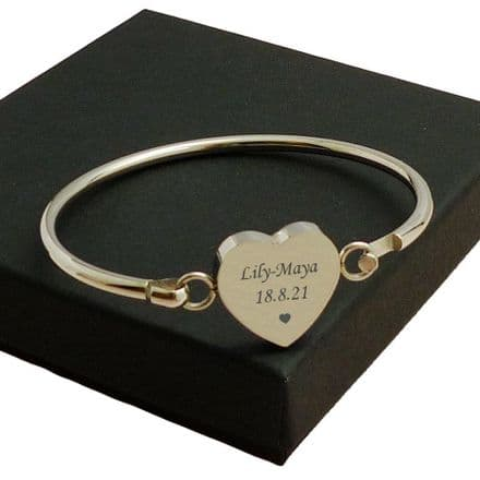 Personalised Memorial Bangle with Engraving for Women or Girls,