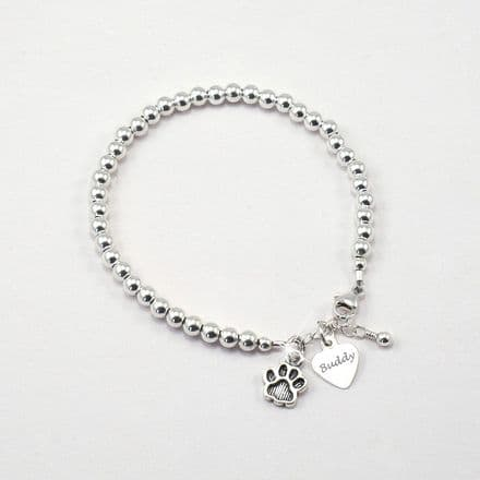 Personalised Pet Name Bracelet with Paw Charm