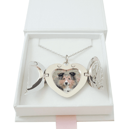 Pet Loss Heart Locket Necklace with Angel Wings and Any Photo