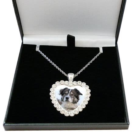 Pet Loss Memorial Heart Necklace with Any Photo, Gift Boxed