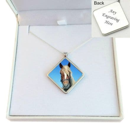 Pet Loss Necklace with Photo, Sterling Silver Chain