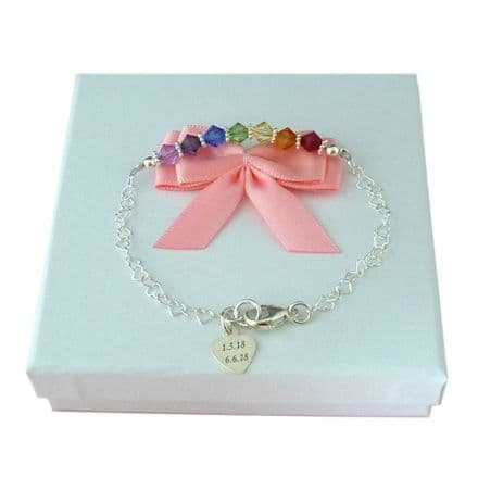 Rainbow Bracelet with Delicate Silver Hearts and Engraving