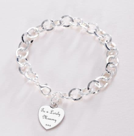 Remembrance Bracelet with Engraved Heart or Round Charm