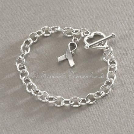 Silver Awareness Ribbon Charm Bracelet