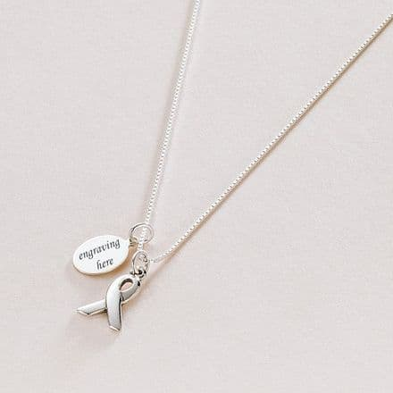 Silver Awareness Ribbon Necklace with Engraving