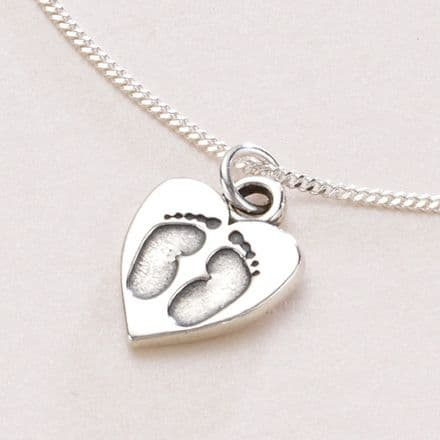 Silver Footprints on Heart Necklace, Optional Engraving