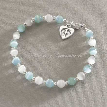 Silver Footprints on your Heart Bracelet