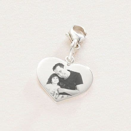Silver Heart Memorial Charm with Any Photo Engraved